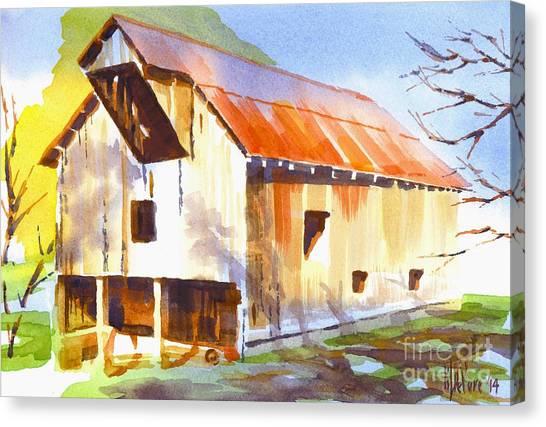 Missouri Barn In Watercolor Canvas Print