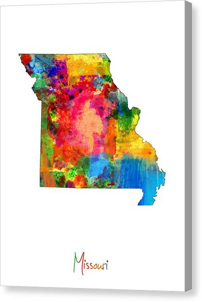 Missouri Canvas Print - Missouri Map by Michael Tompsett