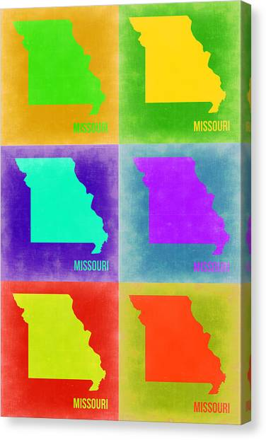 Missouri Canvas Print - Missouri Pop Art Map 2 by Naxart Studio