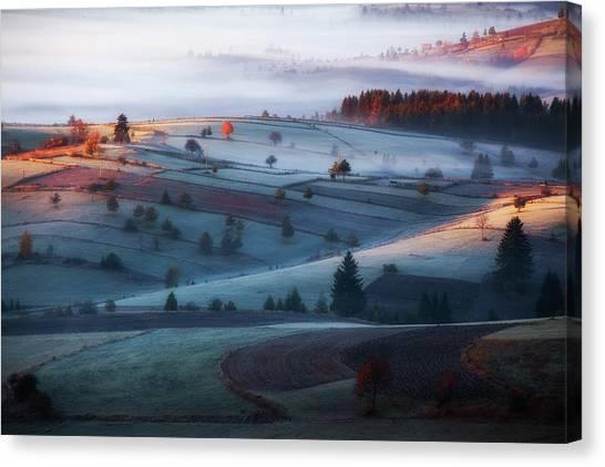 Farm Landscape Canvas Print - Mist by Amir Bajrich