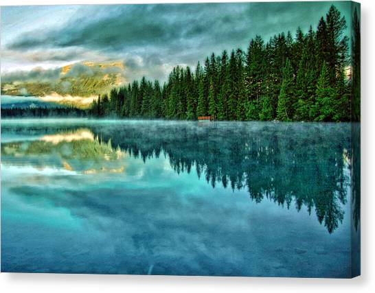 Mist And Moods Of Lake Beauvert  Canvas Print