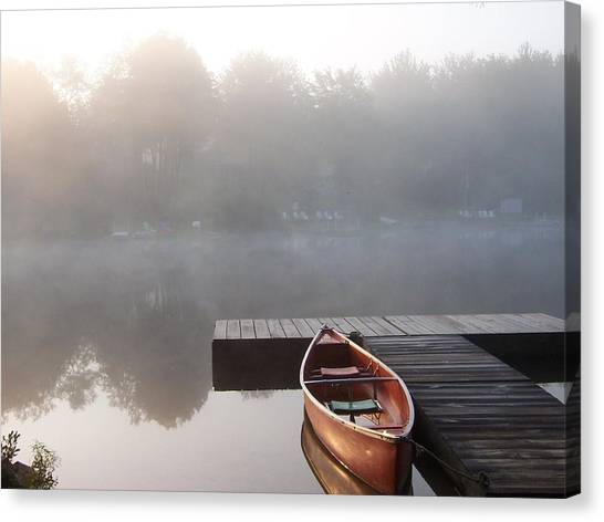 Mist Floating Over The Lake Canvas Print