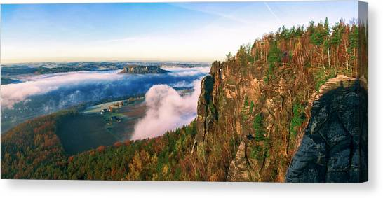 Mist Flow Around The Fortress Koenigstein Canvas Print