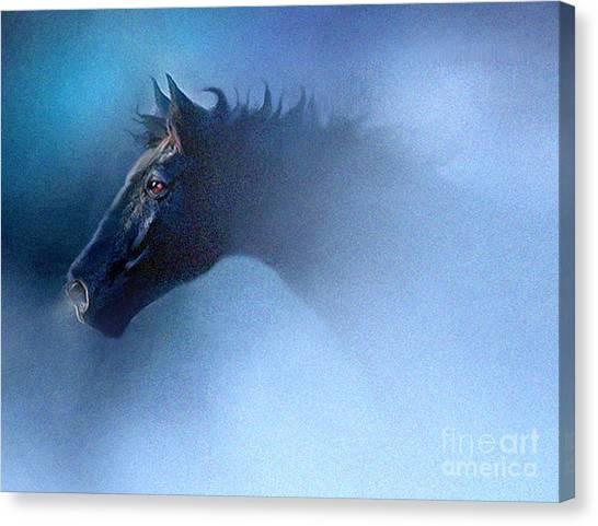 Black Stallion Canvas Print - Mist Runner by Robert Foster