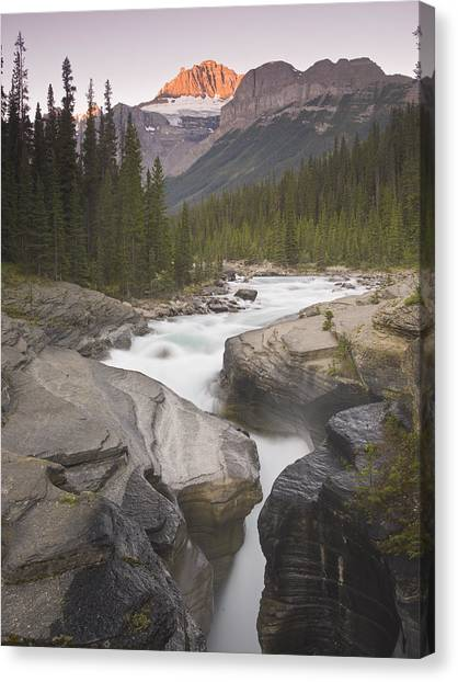 Mistaya Canyon And Mount Sarbach Canvas Print