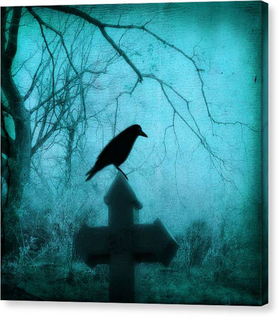 Ravens In Graveyard Canvas Print - Misted Blue by Gothicrow Images