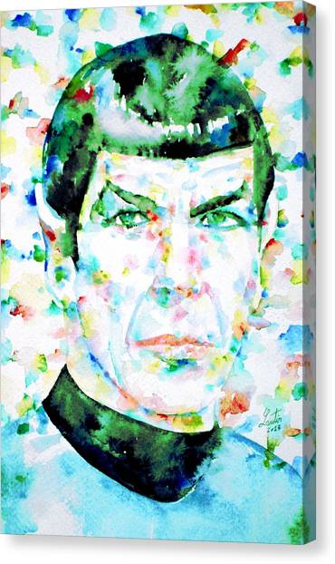 Spock Canvas Print - Mister Spock  Watercolor Portrait by Fabrizio Cassetta