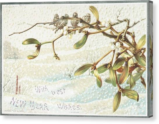 Mistletoe Canvas Print - Mistletoe In The Snow by English School