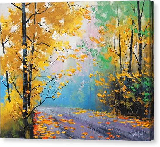Maple Trees Canvas Print - Misty Autumn Day by Graham Gercken