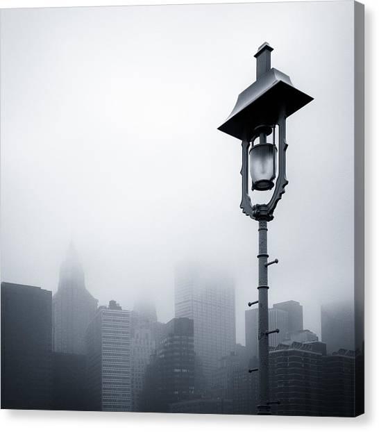 Shrouds Canvas Print - Misty City by Dave Bowman