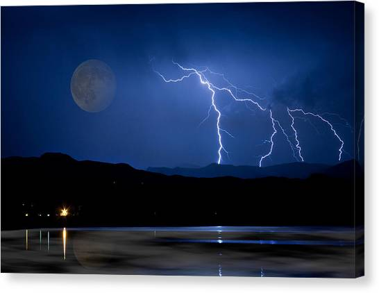 Misty Lake Full Moon Lightning Storm Fine Art Photo Canvas Print