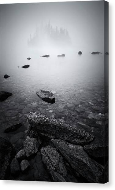 Misty Lake Canvas Print by Lydia Jacobs