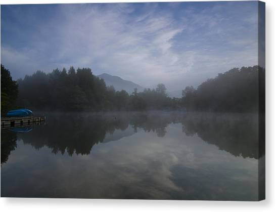 Canoe Canvas Print - Misty Morning by Aaron Bedell