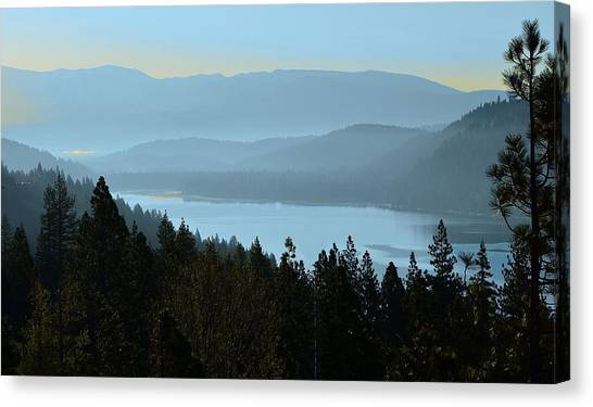 Misty Morning At Donner Lake Canvas Print