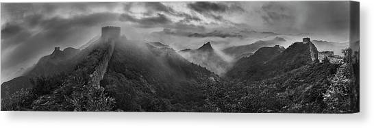 Panorama Canvas Print - Misty Morning At Great Wall by Yan Zhang
