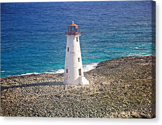 Misty Morning At Hog Island Lighthouse On Paradise Island Baham Canvas Print