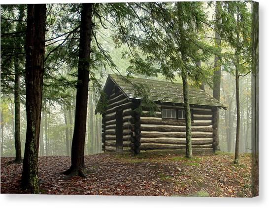 Misty Morning Cabin Canvas Print