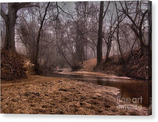Canvas Print featuring the photograph Misty Morning Creek by Glenda Wright