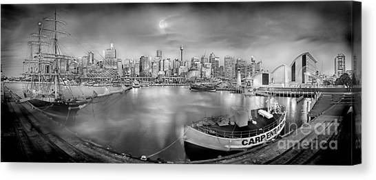 Degrees Canvas Print - Misty Morning Harbour - Bw by Az Jackson