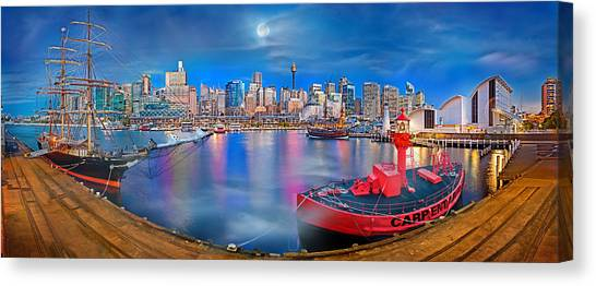 Degrees Canvas Print - Misty Morning Harbour by Az Jackson