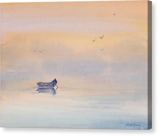 Misty Morning Peace Watercolor Painting Canvas Print
