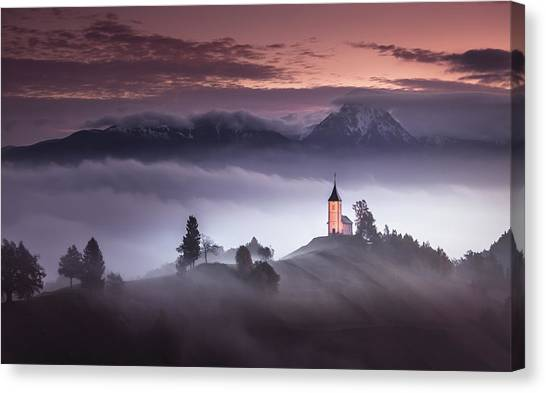 Church Canvas Print - Misty Morning by Sandi Bertoncelj