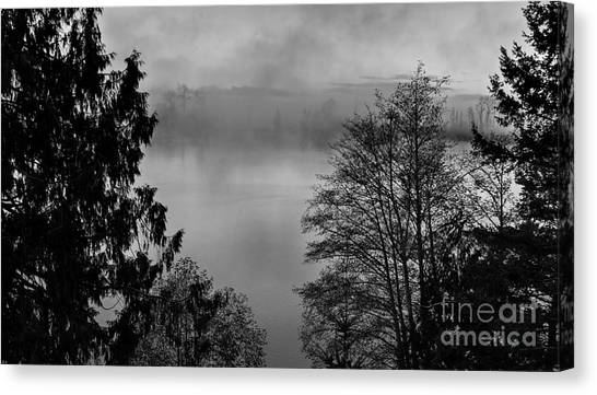 Misty Morning Sunrise Black And White Art Prints Canvas Print