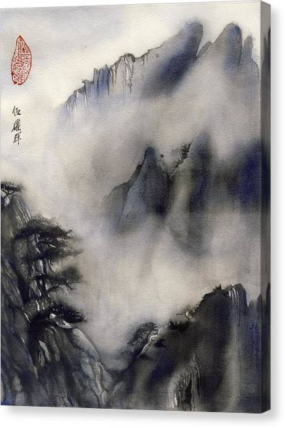 Misty Mountain In Blue Canvas Print