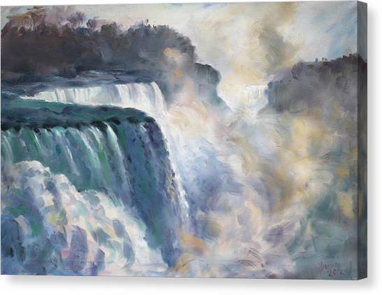 Waterfalls Canvas Print - Misty Niagara Falls by Ylli Haruni
