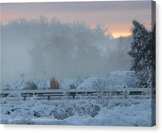Misty Snow Morning Canvas Print