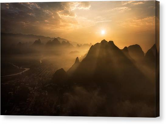 Sunrise Canvas Print - Misty Sunrise by Nadav Jonas