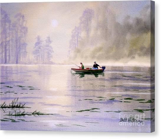 Burt Reynolds Canvas Print - Misty Sunrise On The Lake by Bill Holkham