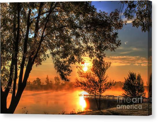 Lake Sunrises Canvas Print - Misty Sunrise by Thomas Danilovich