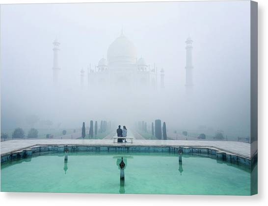 Water Canvas Print - Misty Taj Mahal by Karthi Kn Raveendiran