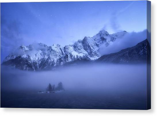 Misty Winter Evening Canvas Print by Daniel F.