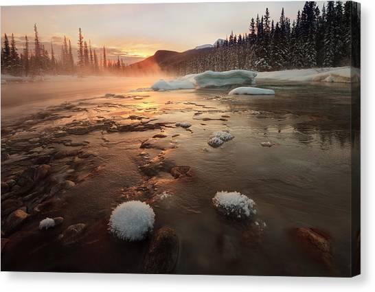 Alberta Canvas Print - Misty Winter Morning by Hong Zeng