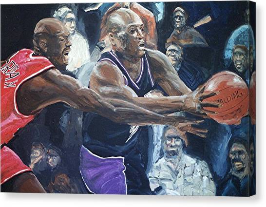 Mitch Richmond And Michael Jordan Canvas Print by Paul Guyer