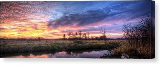 Prairie Sunsets Canvas Print - Mitchell Park Sunset Panorama by Scott Norris
