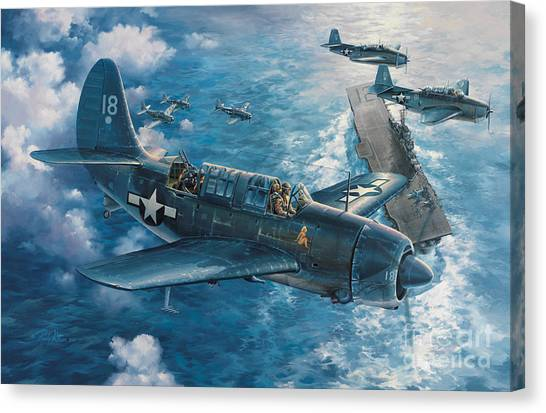 Biplane Canvas Print - Mitscher's Hunt For The Rising Sun by Randy Green