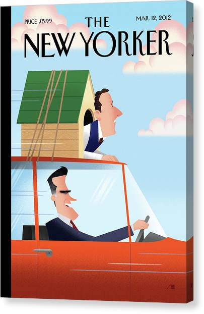 Mitt Romney Driving With Rick Santorum In A Dog Canvas Print