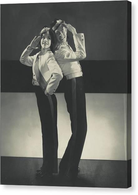 Follies Canvas Print - Mitzi Mayfair And Hal Le Roy Saluting by Edward Steichen