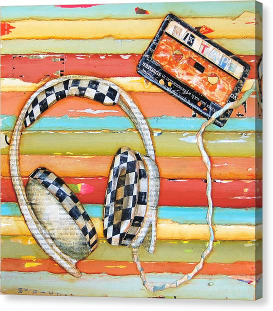 Headphones Canvas Print - Mix Tape by Danny Phillips