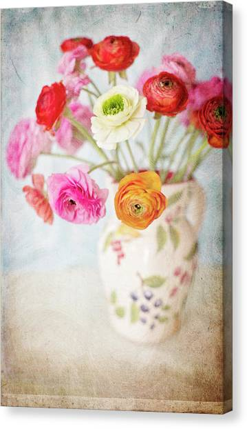 Vase Of Flowers Canvas Print - Mixed Ranunculus In Vase by Susangaryphotography