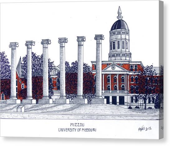 University Of Missouri Canvas Print - Mizzou - University Of Missouri by Frederic Kohli