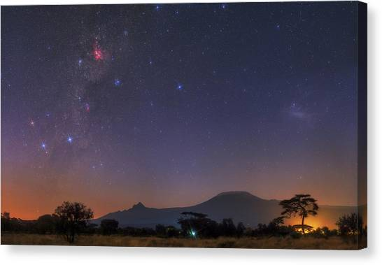 Southern Africa Canvas Print - Mliky Way And Large Magellanic Cloud by Babak Tafreshi