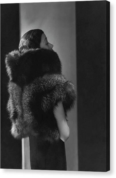 Mlle. Koopman Wearing A Fur Jacket Canvas Print