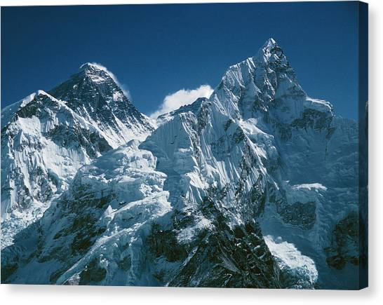 Mount Everest Canvas Print - Mnts. Everest & Nuptse With South Col In Between by Simon Fraser/science Photo Library
