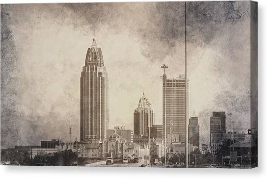Mobile Alabama Black And White Canvas Print