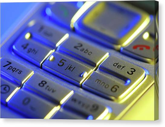 Keypad Canvas Print - Mobile Phone Keypad by Steve Percival/science Photo Library