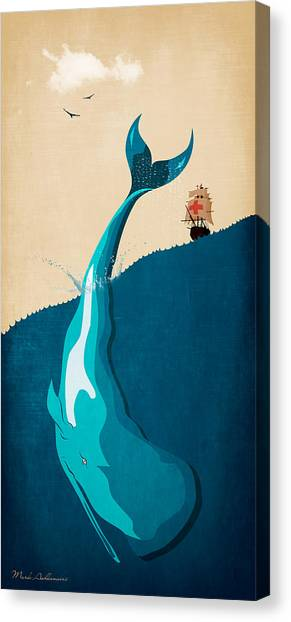 Ocean Life Canvas Print - Moby Dick 2 by Mark Ashkenazi